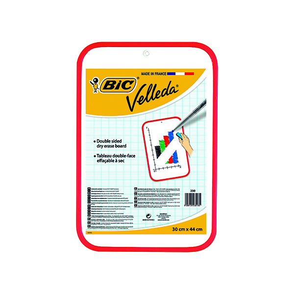 Bic Velleda Drywipe Board Red 300 x 440mm 812105