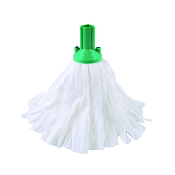 Exel Big White Mop Head Green (Pack of 10) 102199GN