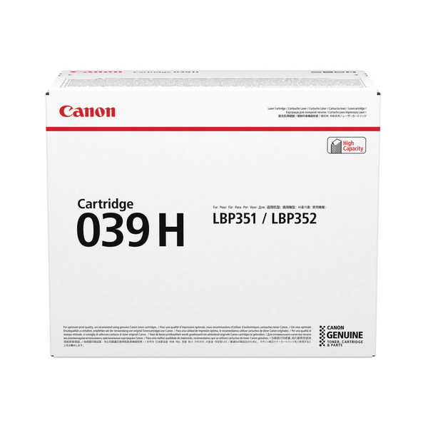 Canon 039H Black Toner Cartridge High Capacity 0288C001