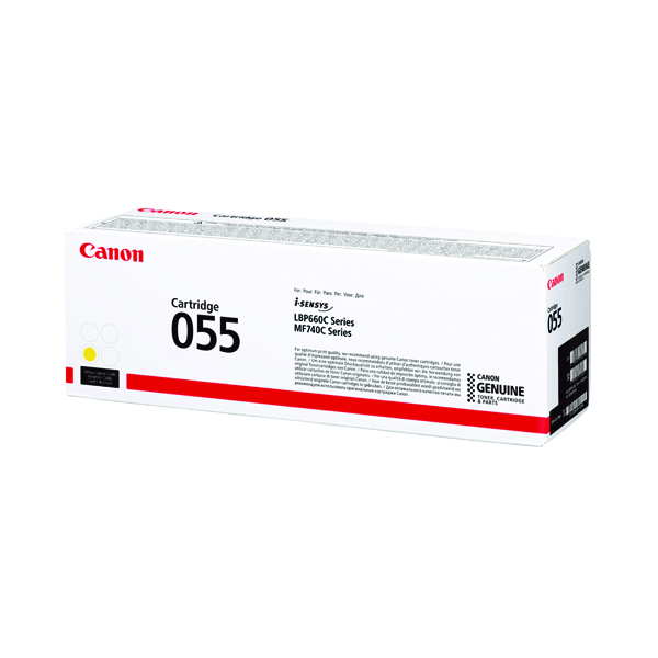 Canon 055 Laser Toner Cartridge Yellow (2100 page capacity) 3013C002