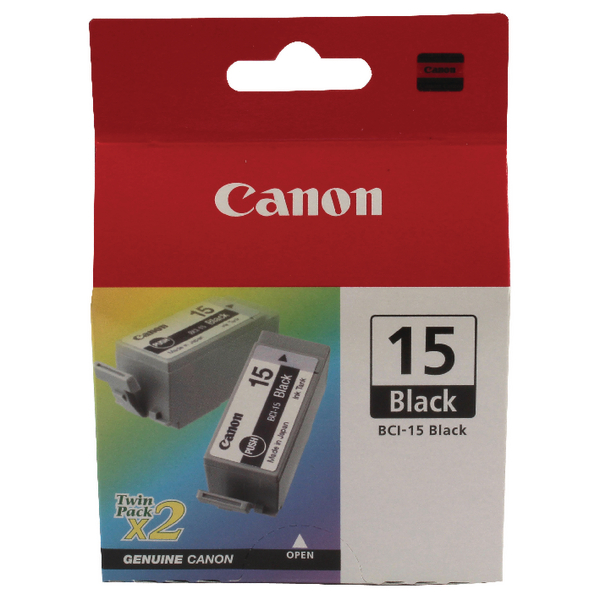 Canon BCI-15BK Black Inkjet Cartridges (Pack of 2) 8190A002