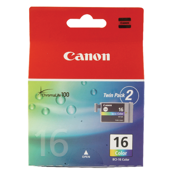 Canon BCI-16 CMY Inkjet Cartridges (Pack of 2) 9818A002