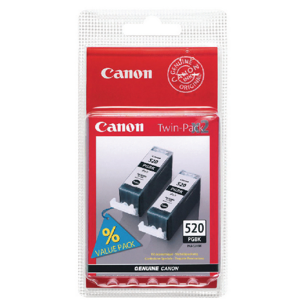 Canon PGI-520 Black Inkjet Cartridges (Pack of 2) 2641B002