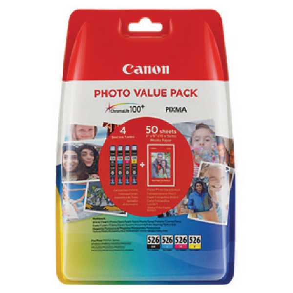 Canon CLI-526 Inkjet Cartridges (Pack of 4) 4540B017