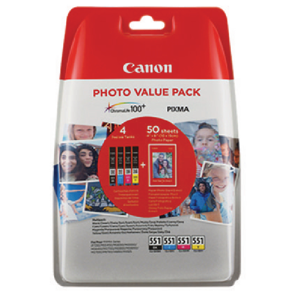 Canon CLI-551 CMYK Ink Cartridges Multipack 6508B005