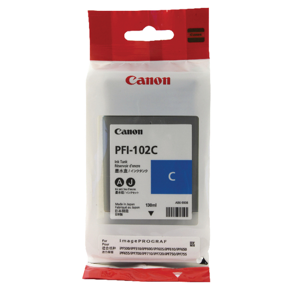 Canon PFI-102C Cyan Ink Tank 130ml 0896B001