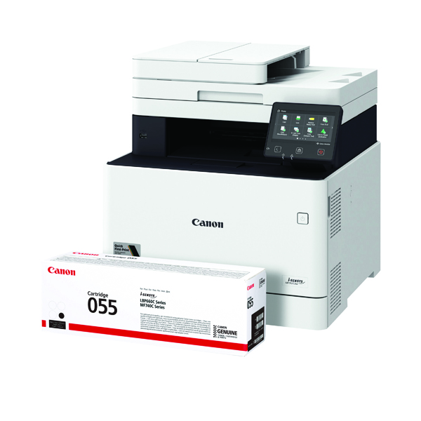 Canon i-SENSYS MF742 MFC Printer FOC Canon 055 Black Toner Cartridge