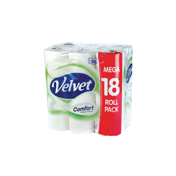 Image for 18 x Velvet Comfort Toilet Roll (2-ply tissue, 200 sheets per roll) KSCATV18