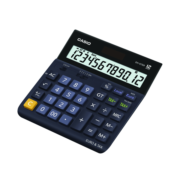 Casio 12 Digit Landscape Tax/Currency Calculator Black DH-12TER