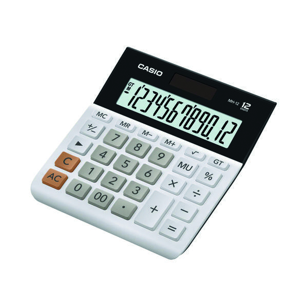 Casio 12-Digit Landscape Basic Function Calculator White MH-12-WE-SK-UP