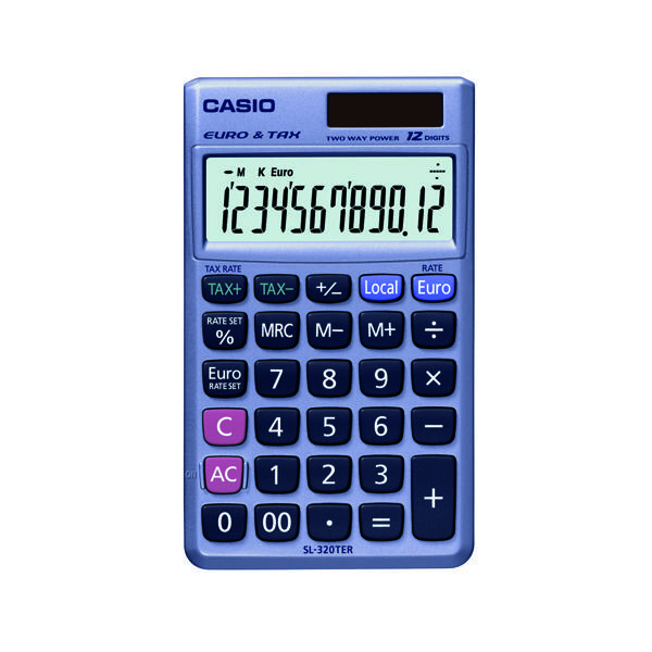 Casio Pocket Calculator 12-Digit SL-320TER+