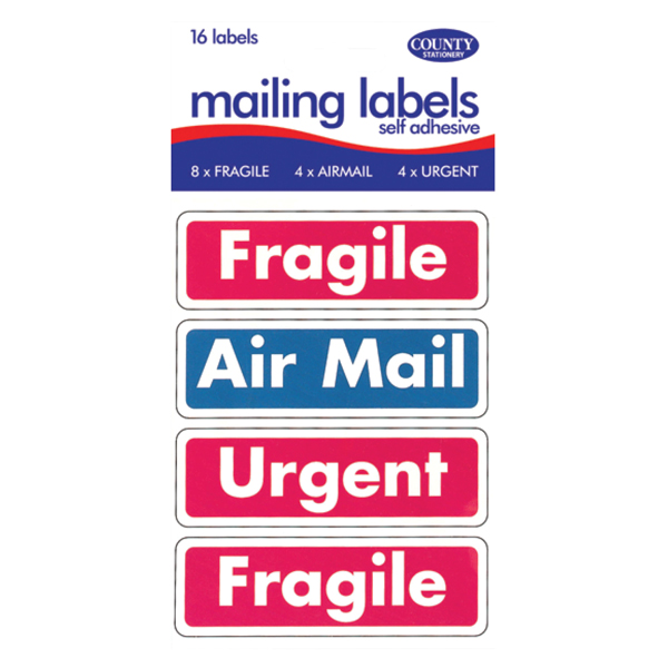 County Mailing Label Fragile/Air Mail (Pack of 12) C162