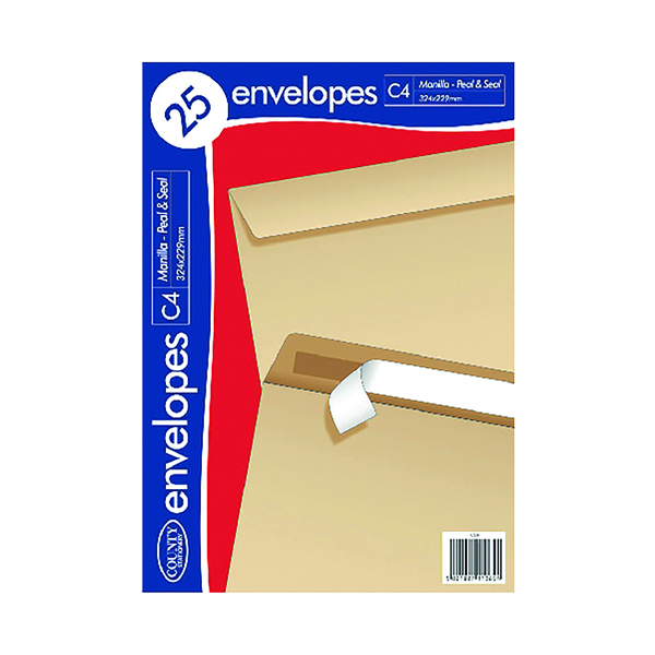 County Stationery C4 25 Manilla Peal and Seal Envelopes (Pack of 20) C507
