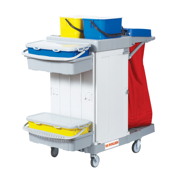 Rokleen Alpha Trolley (2 x 10 litre mop containers, 2 shelves, lockable compatment) MWATST01L