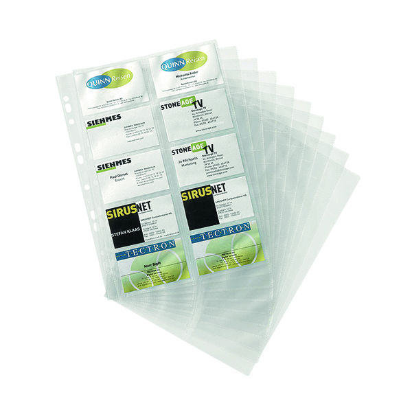 Image for Durable Visifix Business Card Pockets Refill A4 Transparent (Pack of 10) 2389