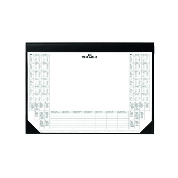 Durable Desk Mat with Calendar Pad, 59 x 42cm, Black, Pack of 1