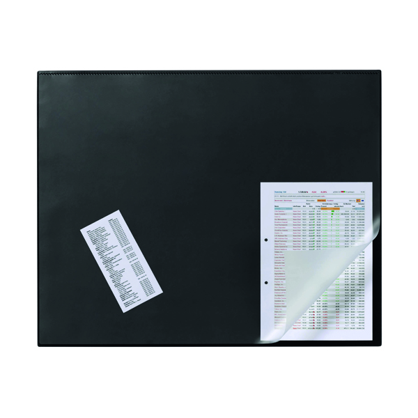 Durable Desk Mat with Overlay W650 x D520mm Black/Clear 7203/01