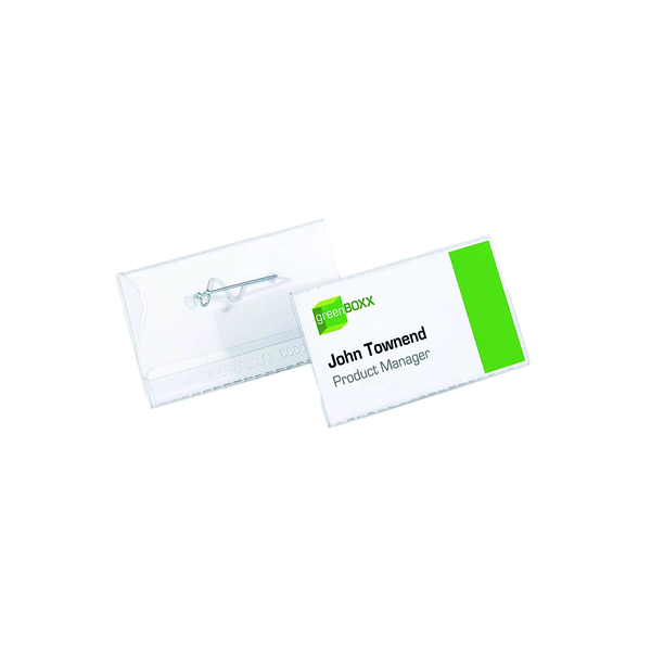 Durable Pin Name Badge 40x75mm Clear (Pack of 100) 8008