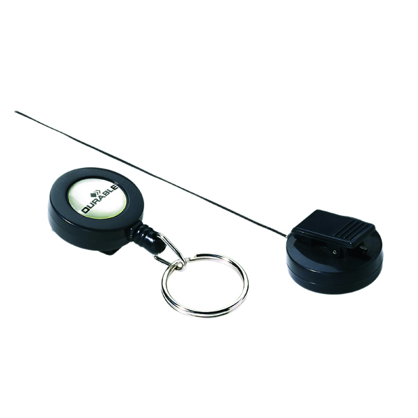 Durable Badge Reel Keyring Charcoal (Pack of 10) 8222/58