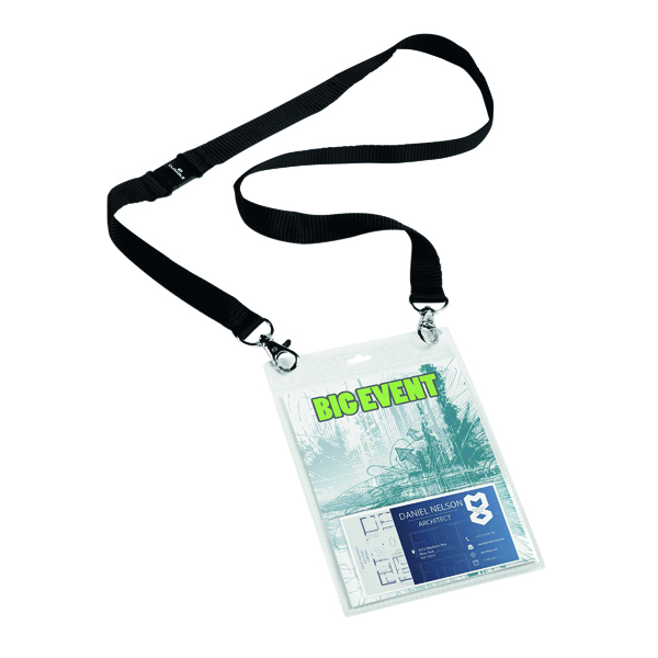 Durable A6 Name Badge with Textile Lanyard (Pack of 10) 852501