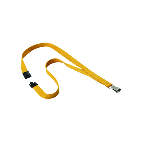 Durable Textile Lanyard With Snap Hook 15mm Ochre (Pack of 10) 8127135
