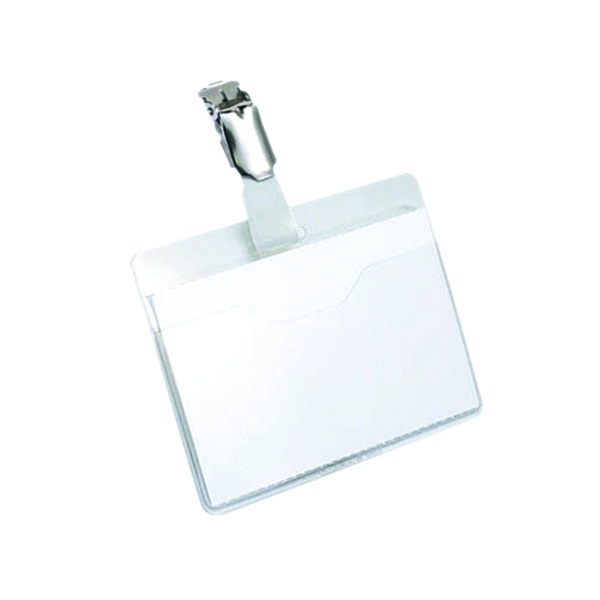 Durable Clip On Landscape Name Badge 60x90mm Transparent (Pack of 25) 8106