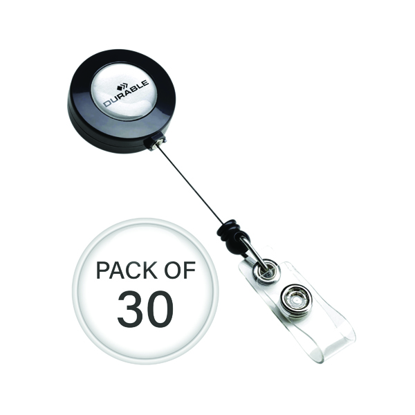 Durable Badge Reel Charcoal (Pack of 10) 3 For 2