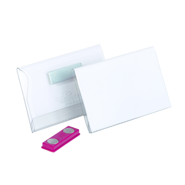 Durable Magnetic Name Badge 40x75mm Transparent (Pack of 25) 811619