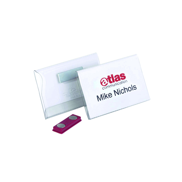 Durable Magnetic Name Badge 54x90mm Transparent (Pack of 25) 8117/19