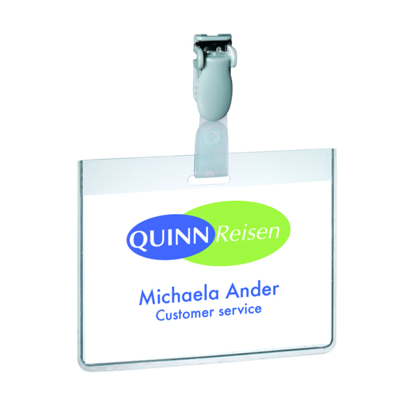 Durable Visitor Badge with Plastic Clip 60x90mm Transparent (Pack of 25) 8143/19