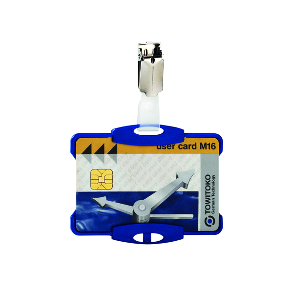 Durable Security Pass Holder With Clip Blue (Pack of 25) 8118/06
