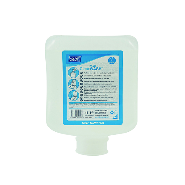 Deb Refresh Clear FOAM Wash 1 Litre Cartridge (Pack of 6) CLR1L