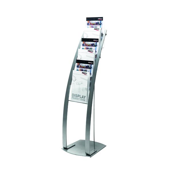 Deflecto Six Pocket Literature Floor Stand A4 Silver DE693145