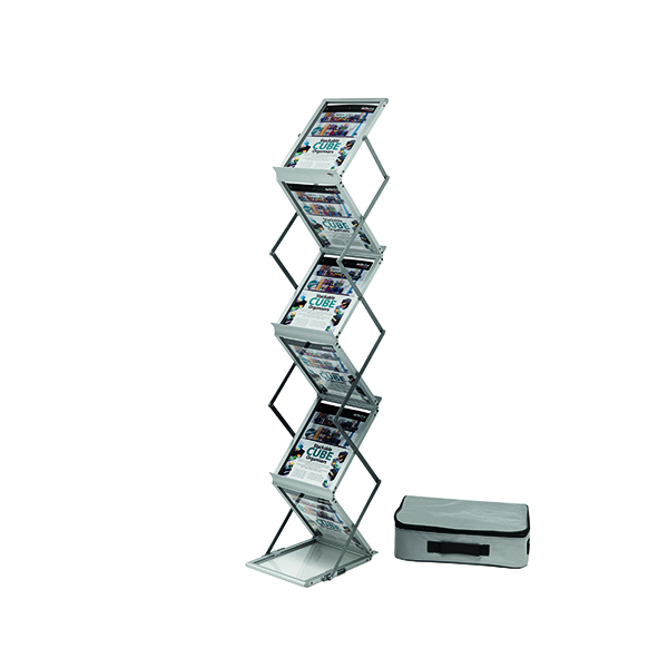 Deflecto Double Sided Folding Stand A4 Silver DE36100