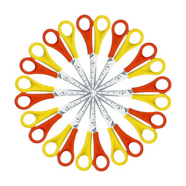 Westcott Left Handed Scissors 130mm Yellow/Orange (Pack of 12) E-21593 00