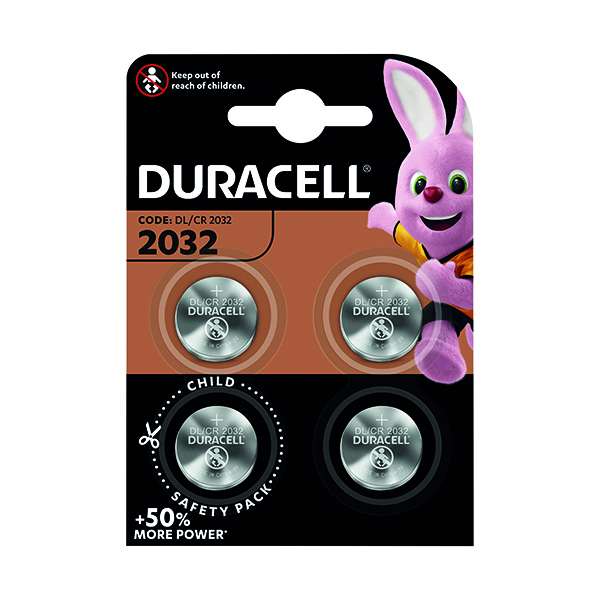 Duracell 2032 Lithium Coin Battery (Pack of 4) ECR2032