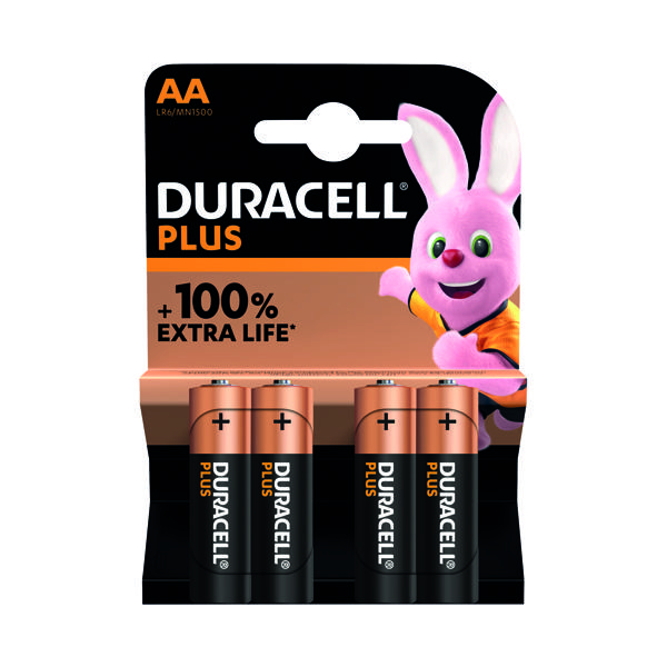 Duracell Plus AA Battery Alkaline 100% Extra Life (Pack of 4) 5009370