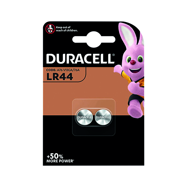 Duracell LR44 Alkaline Button Batteries (Pack of 2) A76/2