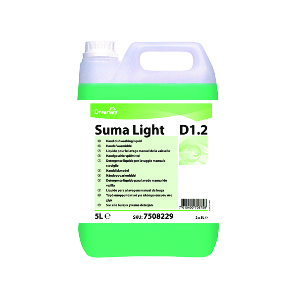 Diversey Suma Light D1.2 Dishwashing Liquid 5 Litre (Pack of 2) 7508229