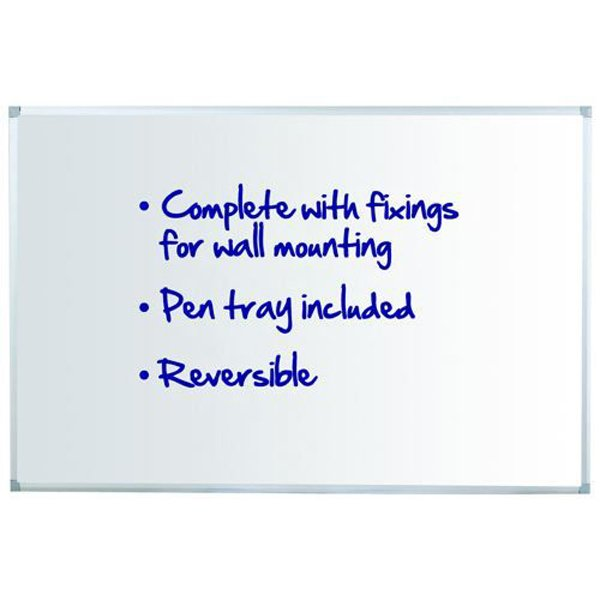 Initiative Reversible Non Magnetic Drywipe Board Aluminium Frame With Pen Tray 1200 x 900mm (4x3)