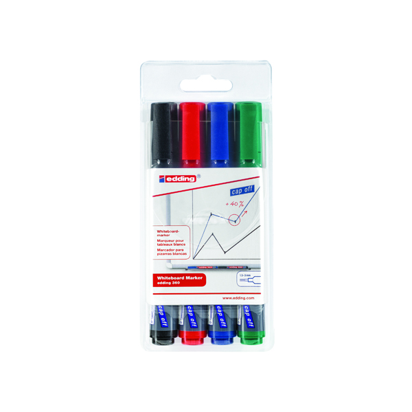 Edding 360 Drywipe Marker Assorted (Pack of 4) 4-360-4