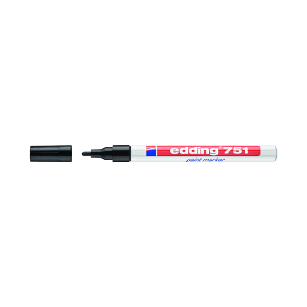 Edding 751 Bullet Tip Paint Marker Fine Black (Pack of 10) 4-751001