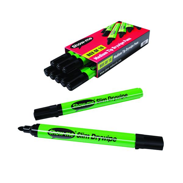 Show-me Drywipe Marker Medium Tip Black (Pack of 10) SDP