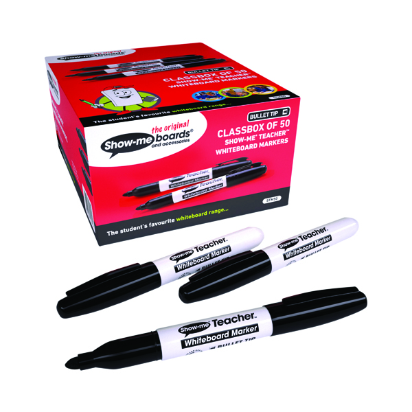 Show-me Teacher Drywipe Marker Black (Pack of 50) STM50