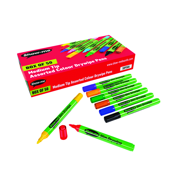 Show-me Drywipe Marker Medium Tip Assorted (Pack of 50) SDP50A