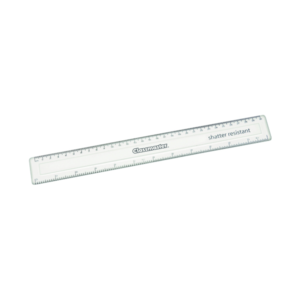Classmaster Shatter Resistant Ruler 30cm Clear (Pack of 100) SPR30100