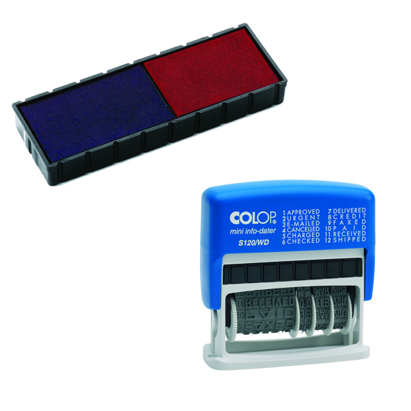 Colop Self Inking Dial-A-Phrase Dater S120WD Free Stamp Pad