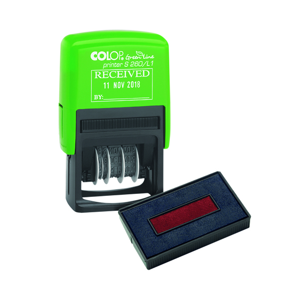 COLOP Green Line Date Stamp RECEIVED Plus Free Ink Pad