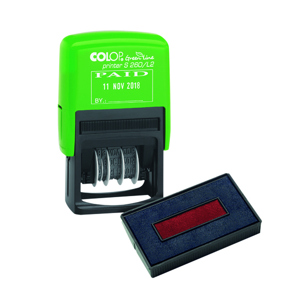 COLOP Green Line Date Stamp PAID Plus Free Ink Pad