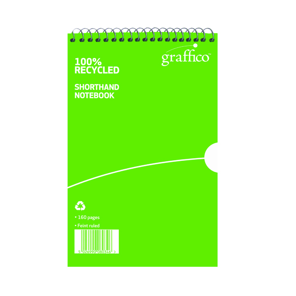 Image for Graffico Recycled Shorthand Notebook 160 Pages 203x127mm 9100037